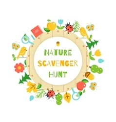 Nature scavenger hunt kids game poster vector