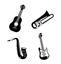 Saxophone and trumpet and guitar icon music vector