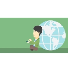 Businessman sitting near earth globe vector