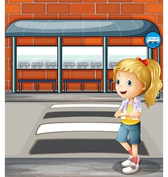 A smiling young woman standing near the pedestrian vector