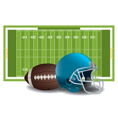 American football field helmet and ball vector