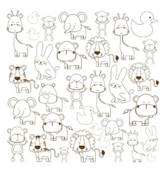 Assorted cute animals image vector