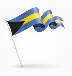 Bahamas pin wavy flag vector