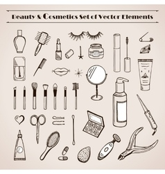 Beauty and cosmetics doodles icons vector image