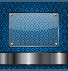 Blue perforated background with glass plate vector