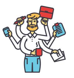 Businessman time management multitasking ceo vector
