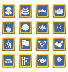 China travel symbols icons set blue vector