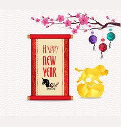 Chinese new year festive card with scroll and vector