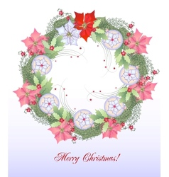 Christmas Wreath with Balls and Pink Poinsettia vector image