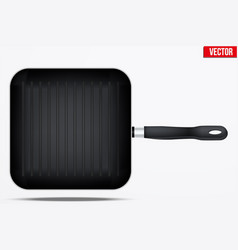 classic metal square grill pan vector image vector image