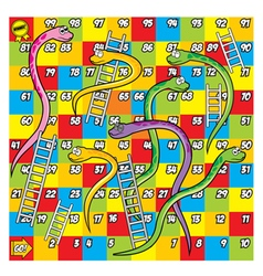 Colorfull snake and ladder game vector