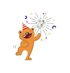 cute bear dancing vector image vector image
