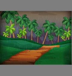 forest scene on rainy day vector image vector image