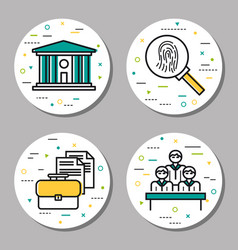 Four round law and investigation icons vector