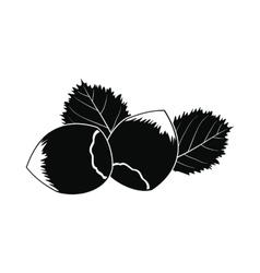 Hazelnut icon black vector