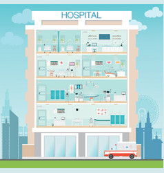 hospital building exterior with medical hospital vector image