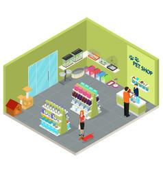 interior pet shop isometric view vector image