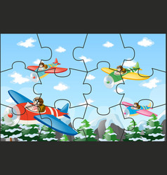Jigsaw puzzle game with pilots flying jet vector