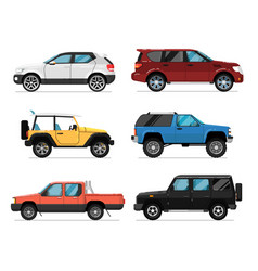 Modern city car isolated set vector