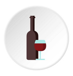 Red wine and glass icon circle vector