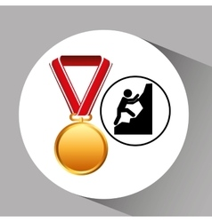 Rock climbing medal sport extreme graphic vector