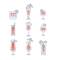 set of alcoholic cocktails line art vector image vector image