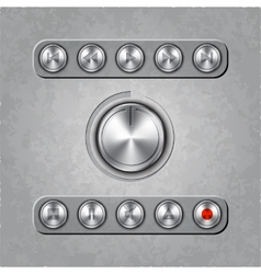 set of audio system knobs on textured background vector image