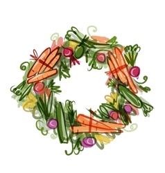 Vegetable frame sketch for your design vector image