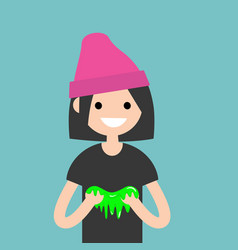 young female character playing with a slime flat vector image vector image