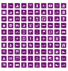 100 voyage icons set grunge purple vector