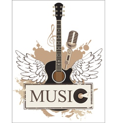 wings with a guitar vector image