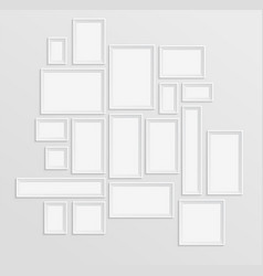 different white frames set on the wall with shadow vector image