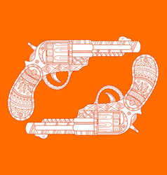 Revolver pistol fashion vector