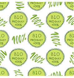Bio green pattern eco seamless background 100 vector