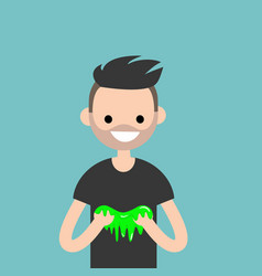 young character playing with a slime flat vector image