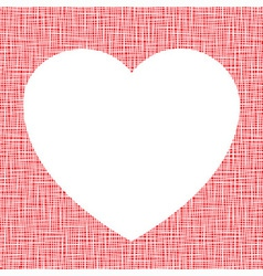 White heart on canvas texture vector
