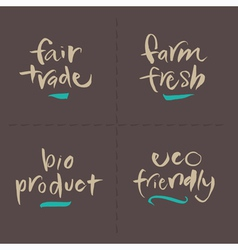 Fairtrade farm bio eco food labels vector
