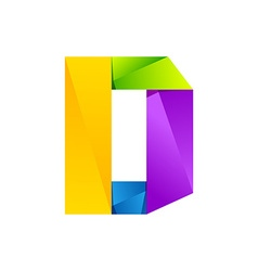 D letter one line colorful logo design template vector