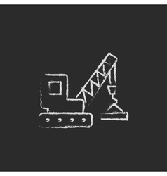 Lifting crane icon drawn in chalk vector