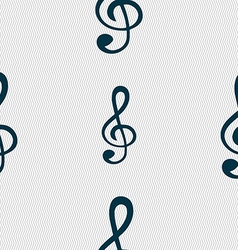 Treble clef icon seamless abstract background with vector
