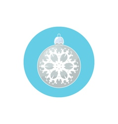 Icon silver ball with snowflake vector