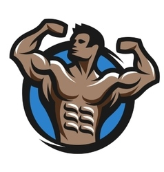 Posing bodybuilder simbol logo emblem vector image