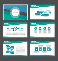 Green and blue presentation templates infographic vector