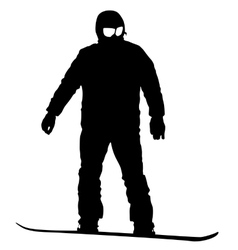 Black silhouettes snowboarders on white vector