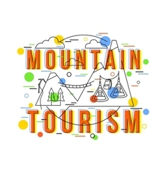 Mountain tourism background with icons and vector
