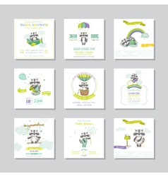 Baby shower card baby raccoon boy set vector