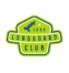 badge of longboard club vector image vector image