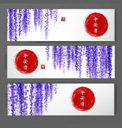 Banners with wisteria and red sun hand drawn with vector