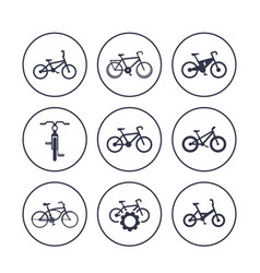 bicycles cycling bikes icons set vector image vector image