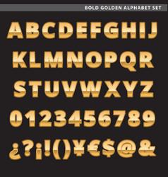 Bold golden alphabet set vector